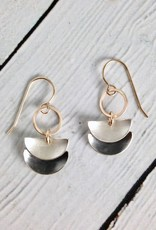 Handmade Sterling Half Circle Drop with 14kt GF Circle Earrings