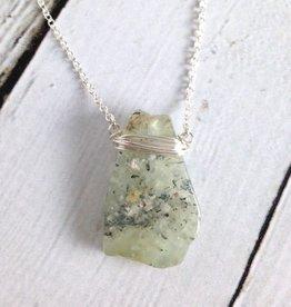 Handmade Silver Lolita Necklace with Prehnite