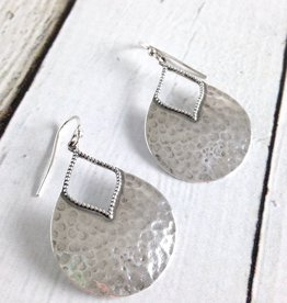 Oxidized Hammered Pear Shape Earrings