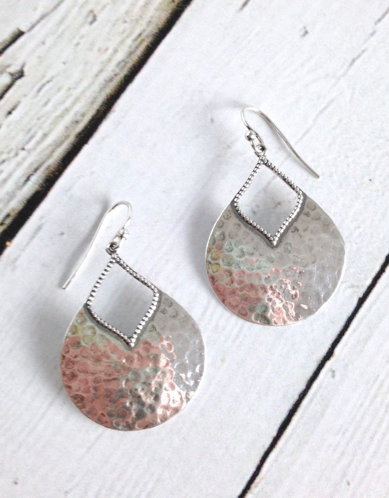 Oxidized Hammered Pear Shape Earrings