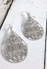 Sterling Silver Large Flat Curled Design Teardrop Earrings