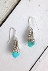 Sterling Silver Silver Cap Turquoise Drop Earrings