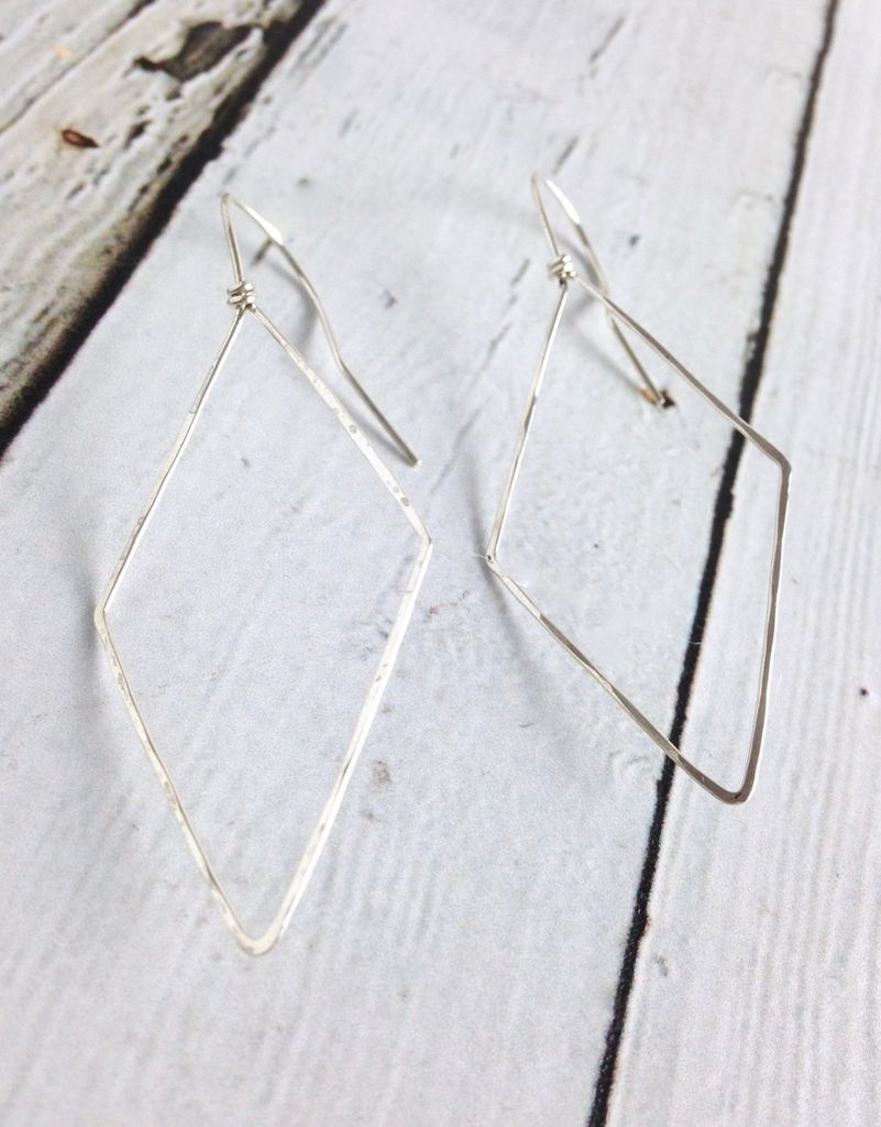 Handmade Silver Diamond Troy Earrings