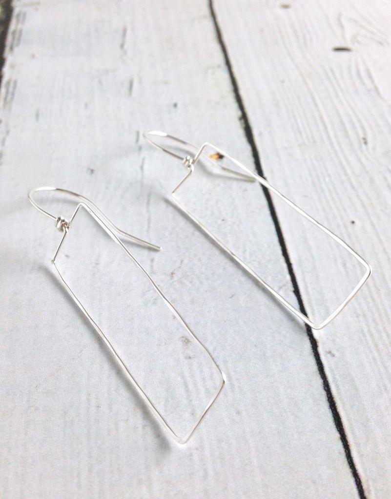Handmade Silver Rectangle Troy Earrings