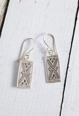 Hill Tribe Rectangle Stamped Earrings