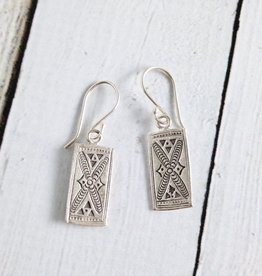 Hilltribe Rectangle Stamped Earrings
