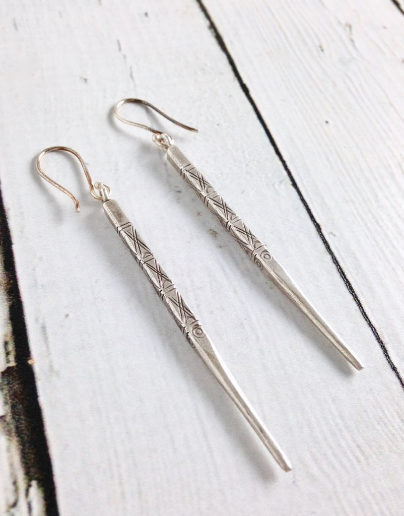 Hill Tribe Silver Long Stamped Spike earrings