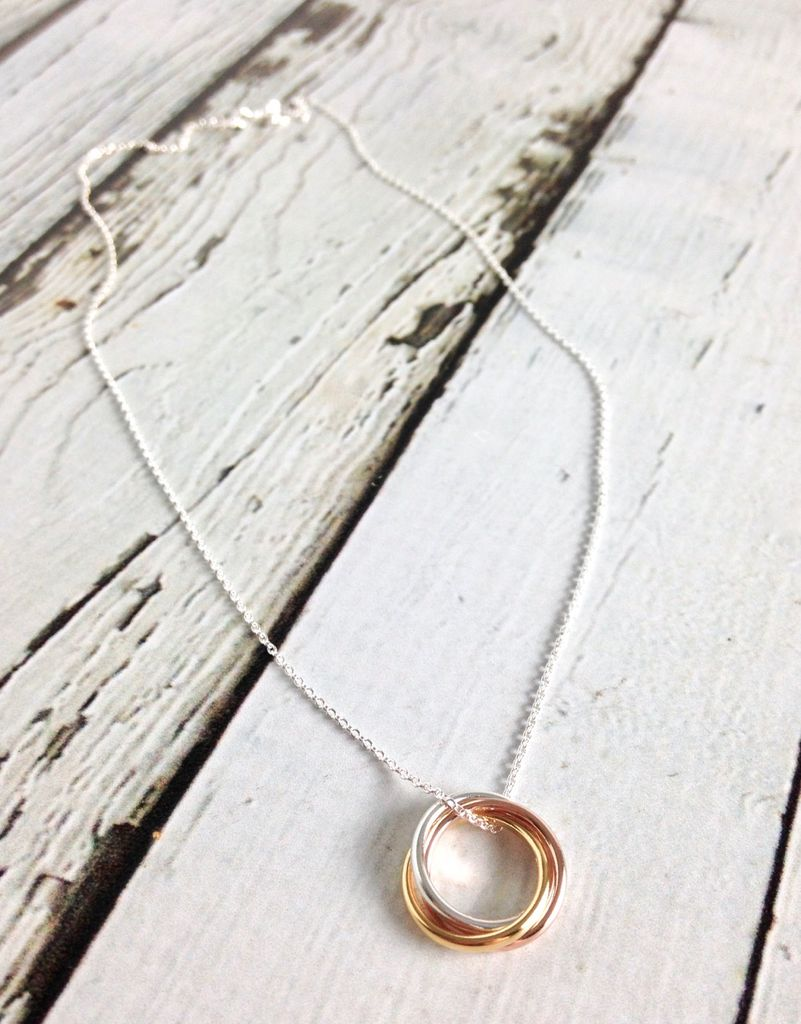Sterling Silver Necklace with 3 Mixed Metal Rings