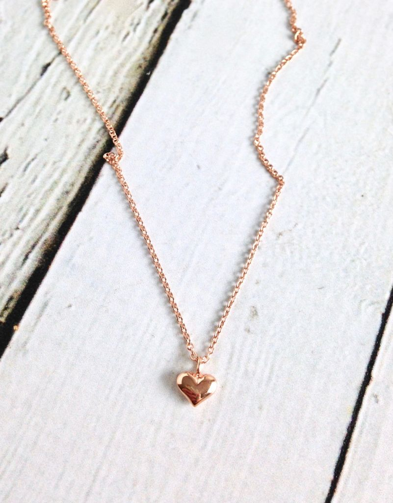 Rose Gold Vermeil Puffy Heart Necklace
