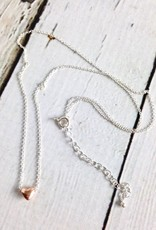 """Handmade Silver """"Dream of Love"""" Rose Gold Heart Charm Necklace"""
