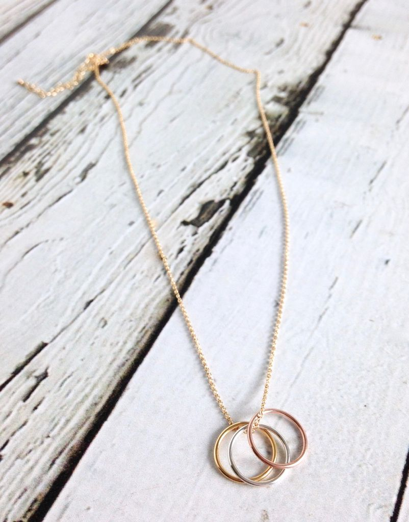 Triple Karma Ring Mixed Metals Necklace