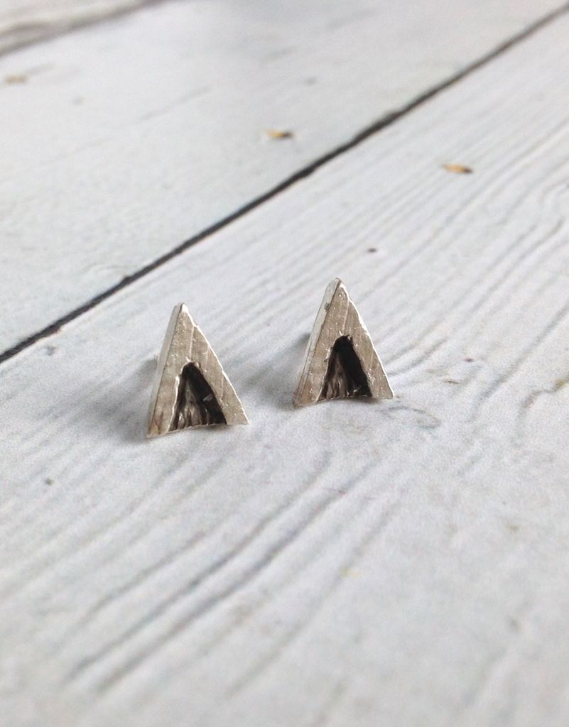 Handmade Oxidized Sterling V post earrings