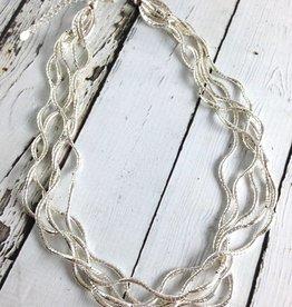 Silver Multi Twist Bead Necklace