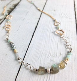Handmade 14kt Gold Filled, Oxidized Sterling, Labradorite Cube and Amazonite Necklace