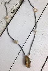 Handmade Oxidized Sterling Silver Necklace with Big Labradorite Briolette