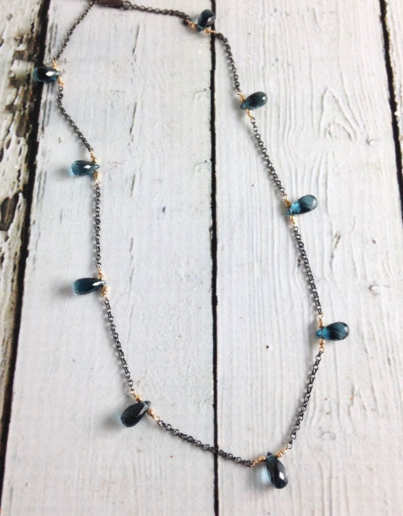 Handmade Sterling Silver Necklace with London Blue Topaz Brios