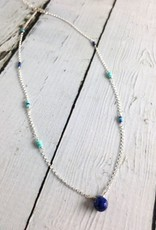 Handmade Sterling Silver Necklace with Lapis and Sleeping Beauty Turquoise
