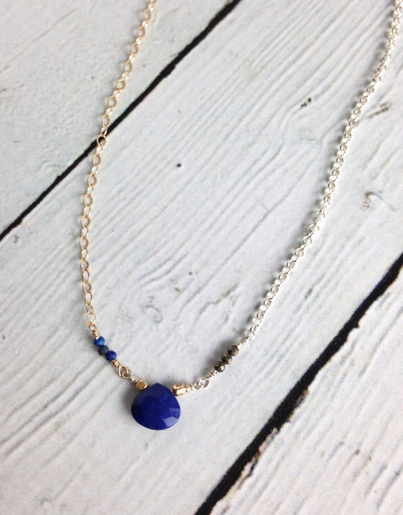 Handmade Sterling Silver and Gold Filled Necklace with Lapis Briolette and Pyrite