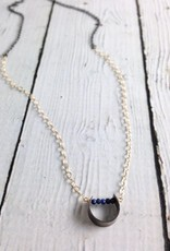 "Handmade Sterling Silver Necklace with Oxidized ""U,"" Lapis and 14kt Gold Filled Chain"