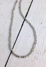 Handmade Sterling Silver Necklace with Tiny Labradorite Knotted on Grey Silk