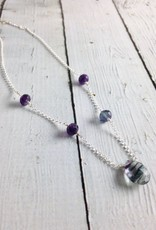 Handmade Sterling Silver Necklace with Fluorite Briolette and Rondelles, Amethyst Rondelles