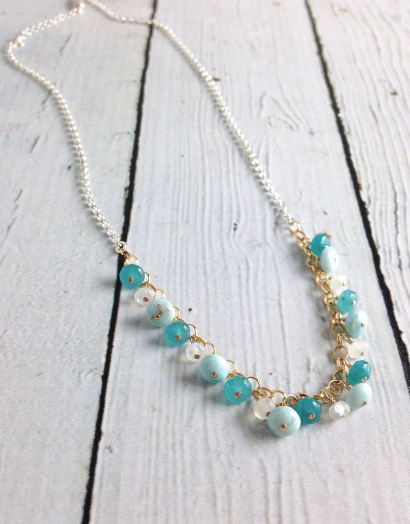 Handmade Sterling Silver and Gold Filled Necklace with Larimar, Rainbow Moonstone, and dyed Jade