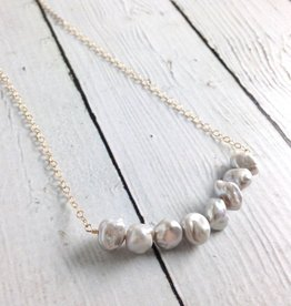 Handmade Gold Filled  Necklace with Irregular Silver Pearls
