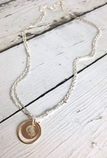 Handmade Sterling Silver Necklace with Double Open Box Chain, 14kt Gold Filled Ring and Disc, Labradorite Ball
