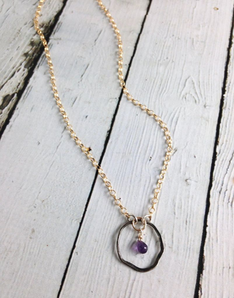 Handmade Gold Filled Necklace with Amethyst Briolette and Oxidized Organic Circle