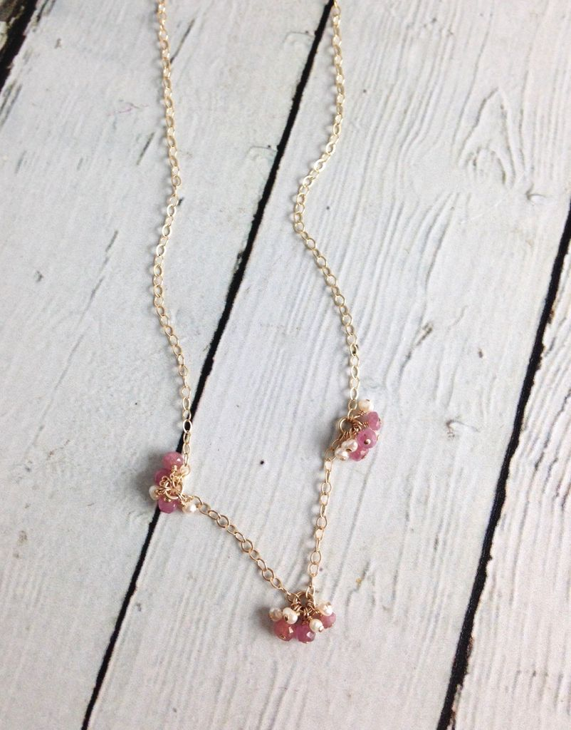 Handmade Gold Filled Necklace with With Rubys and Tiny White Pearls