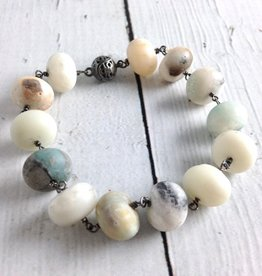 Handmade Sterling Silver Bracelet with Matte Amazonite