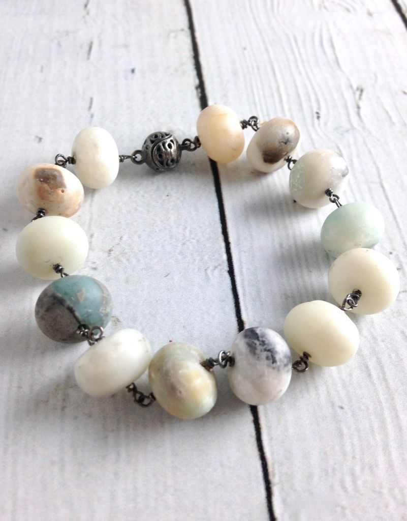 Handmade Sterling Silver Bracelet with Matte Amazonite
