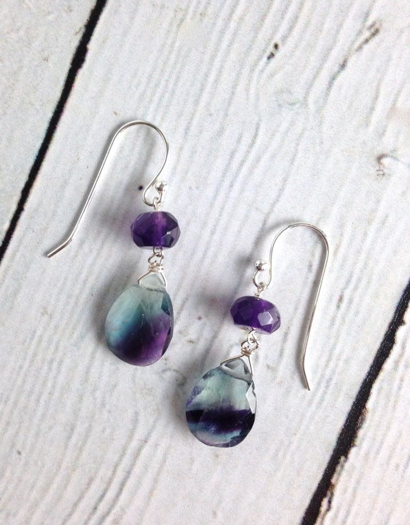 Handmade Sterling Silver Earrings with Fluorite Briolettes and Rondelles