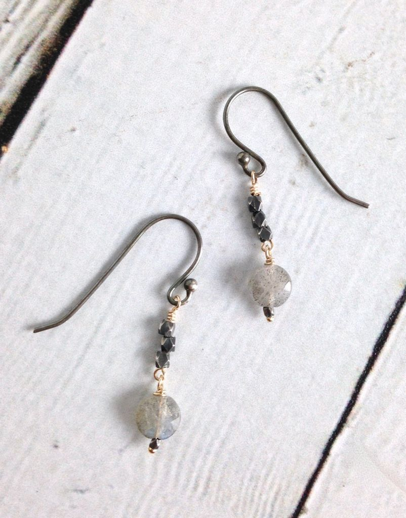 Handmade Sterling Silver Earrings with Small Labradorite Coin,  Oxidized faceted beads and 14kt  Gold Filled  Wire