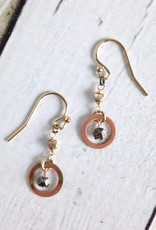 Handmade Gold Filled Earrings with 14kt Gold Filled Rings and Oxidized Faceted Silver