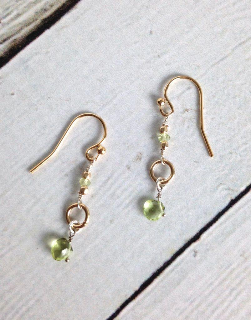 Handmade Gold Filled Sterling Silver Earrings with Peridot BrioletteHandmade Gold Filled Earrings with Peridot Briolette