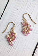 Handmade Gold Filled Earrings with Rubys and White Pearls
