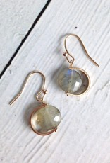 Handmade Gold Filled Earrings with Labradorite Coin