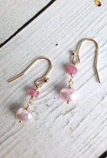 Handmade Gold Filled Earrings with Pink Pearl and Pink Ruby