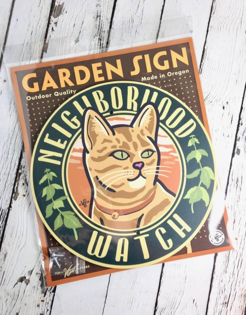 Cat Neighborhood Watch Garden Sign