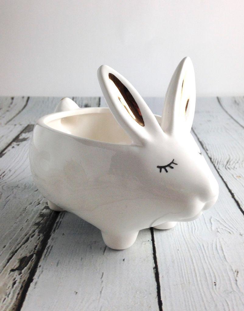 "5-1/2"" Stoneware Rabbit Planter"