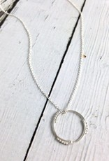Handmade Matte Sterling Silver Circle and Dots Necklace
