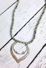 Handmade Sterling Silver Organic Pendant on Turquoise Bead Necklace