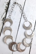 Handmade Sterling Silver Oxidized and Textured Open Circle with Solid Halfmoon Links Necklace