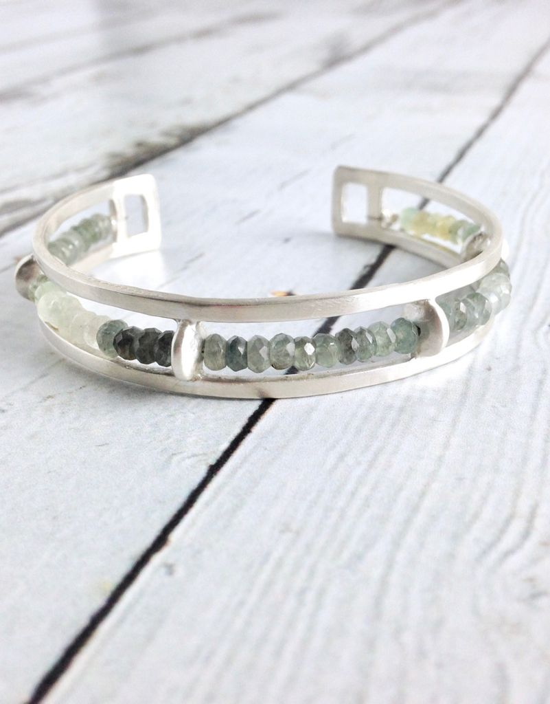Handmade Matte Sterling Silver Cuff Bracelet with Single Rows of Moss Aquamarine