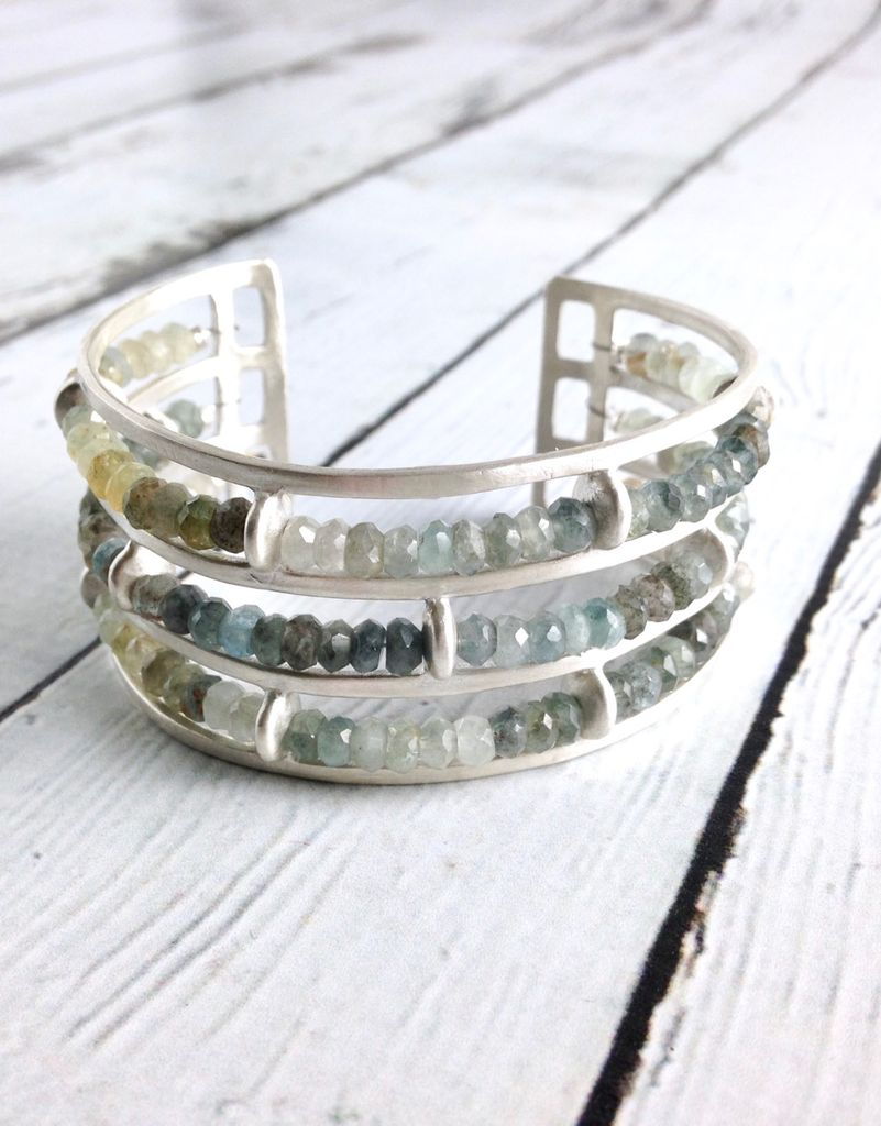 Handmade Matte Sterling Silver Wide Cuff Bracelet with 3 rows of Moss Aquamarine