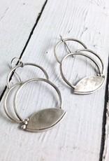 Handmade Matte Sterling Silver Circles with Lotus Petal Earrings
