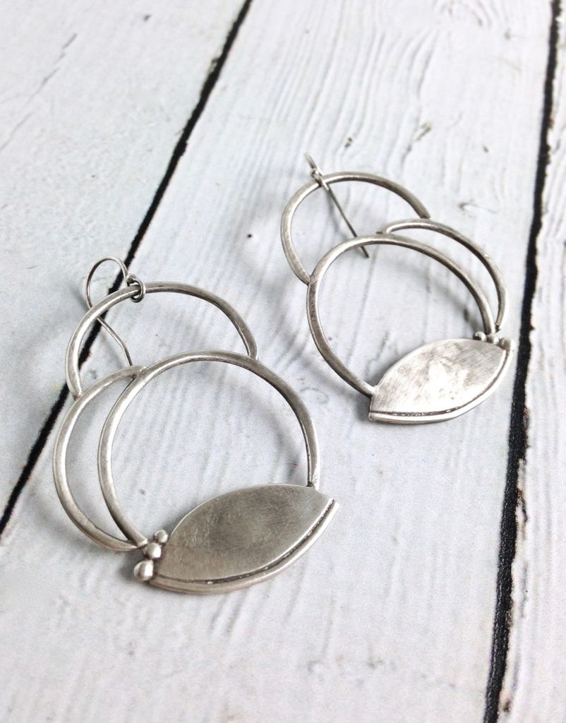 Handmade Matte Sterling Silver Circles with Lotus Petal Earrings