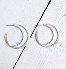 Handmade Matte Sterling Silver Open Crescent Earrings