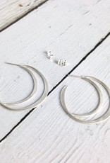 Handmade Matte Sterling Silver Open Crescent Earrings